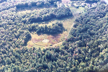 Aerial shot of the land showing the medicine wheel circle.